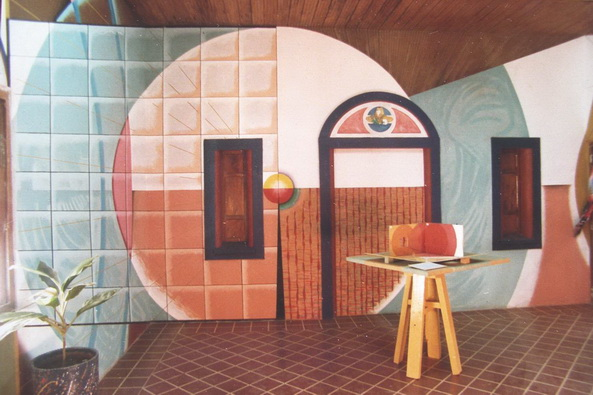 4 z 1 -1986-2a  ANAMORFOSI murale poliangolare didattico, Leon, Nicaragua
