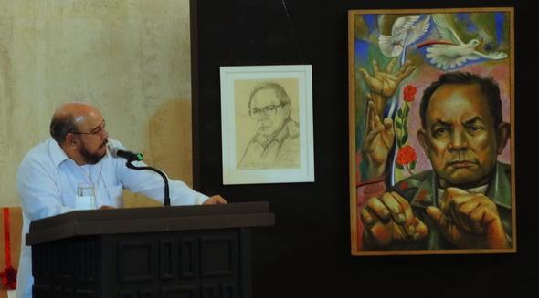 """2015 Managua, Teatro Rubén Darío, Salón de los Cristales, Edwin Castro Rivera a la  presentación del libro """"POESIA CLANDESTINA REUNIDA"""" de Tomas Borge Martínez"""