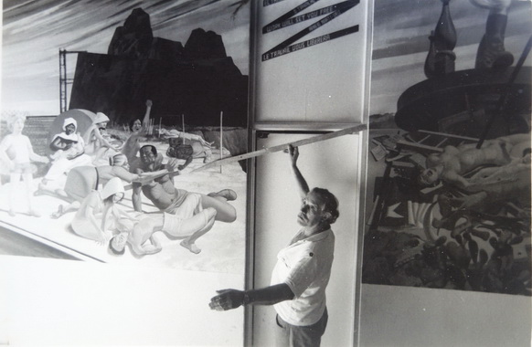 1987, el maestro Aurelio C. pintando el mural del CEMOAR en Managua, Nicaragua