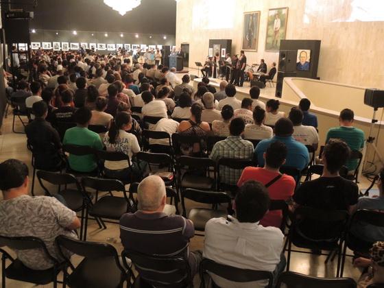 """2015 Managua, Teatro Rubén Darío, Salón de los Cristales, presentación del libro """"POESIA CLANDESTINA REUNIDA"""" de Tomas Borge Martínez"""