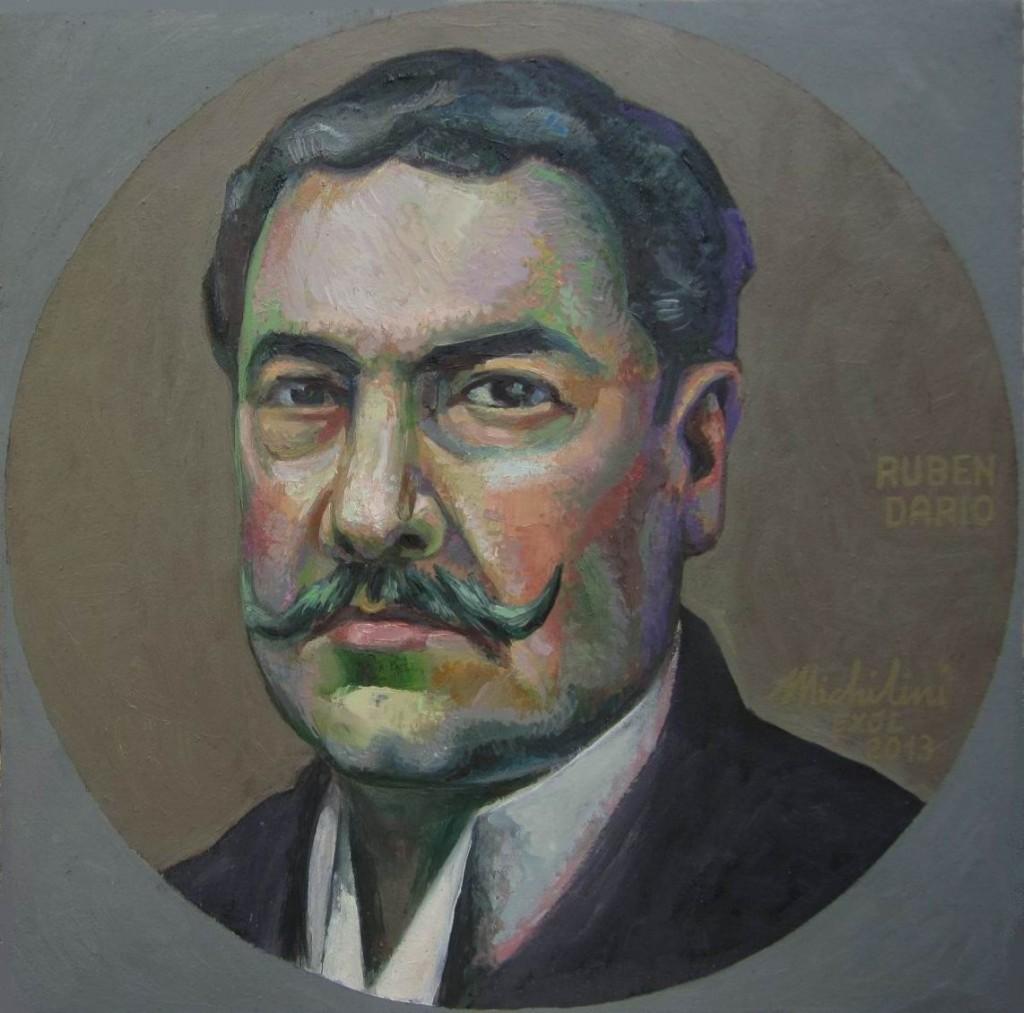 Sergio Michilini, Pequeño retrato de Rubén Darío,2013, oleo/tela, cm.42×42 http://blogosfera.varesenews.it/la-bottega-del-pittore/?p=12183