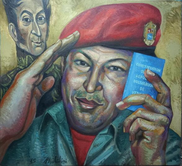 Sergio Michilini, HUGO CHAVEZ FRIAS, 2015, oleotela, cm.74x80