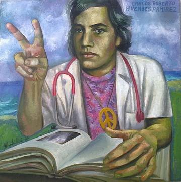 Sergio Michilini, RETRATO DE CARLOS ROBERTO HUEMBES RAMIREZ, 2014, óleo sobre tela, cm.70×70