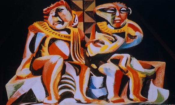 Sergio Michilini, TAMAGASTAD Y CIPALTONAL, 1984, escultopintura de terracota, Iglesia Santa Maria de los Angeles, Barrio Riguero, Managua