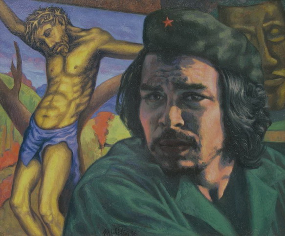 1 - Sergio Michilini, CHE GUEVARA CON EL CRISTO AMARILLO (Che Guevara con il Cristo giallo), 1996, olio su tela, cm.60x70