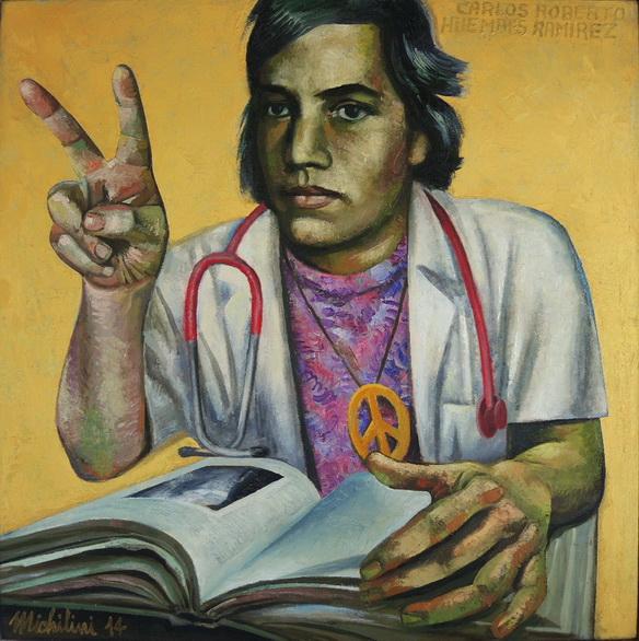 Sergio Michilini, RETRATO DE CARLOS ROBERTO HUEMBES RAMIREZ CON FONDO DORADO, 2014, óleo sobre tela, cm.70×70