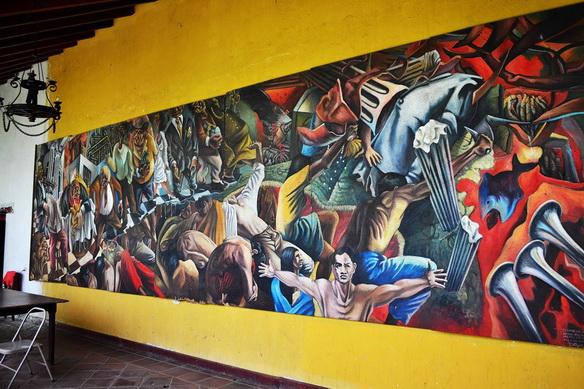 """Daniel Pulido """" EL GRITO DE JUAN LANAS"""", 1993, pintura mural en la Biblioteca Municipal de León, 8,40 x 2,40 mts, acrílico sobre paneles de plywood."""