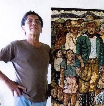 1990 El maestro LEONEL CERRATO frente a su mosaico