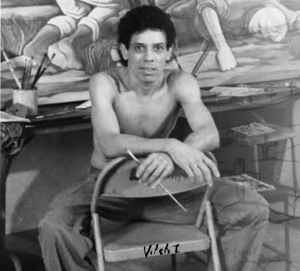 1991 El maestro panameño VIRGILIO ORTEGA SANTIZO (primer pintor de una brigada muralista internacional en llegar a Nicaragua a raíz del triunfo revolucionario)
