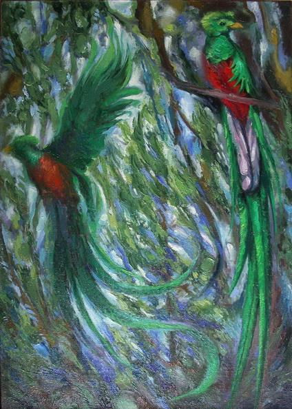 Sergio Michilini, QUETZALES, 1994, oleo sobre tela, cm70x50