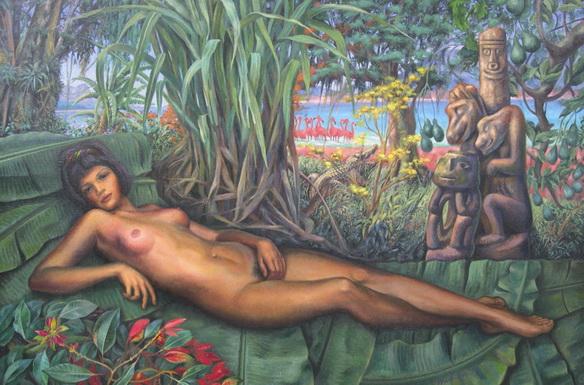 "Sergio Michilini, ""LA VENUS NICARAGUENSE"" 1996 – óleo sobre tela de bramante – cm. 111 x 166   https://blogosfera.varesenews.it/la-bottega-del-pittore/?p=9706"