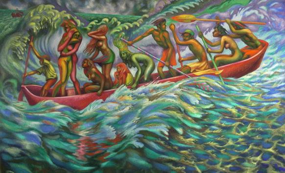 Sergio Michilini, LA CANOA DEI DODICI CON LA REGINA DI MAMANGUA', 1998, oleo sobre tela, cm.100x160