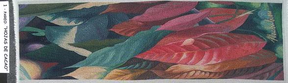 1a - 2004-7    PAREO-HOJAS DE CACAO-1 elaborazione elettronica su seta cm.45x160