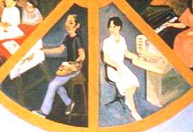 En este detalle se puede apreciar a la izquierda su autorretrato y a la derecha el retrato de su esposa