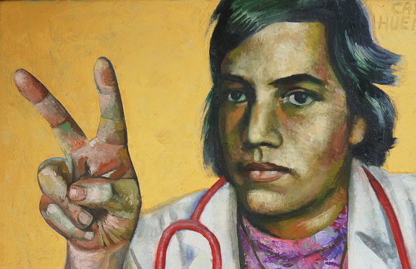 Sergio Michilini, RETRATO DE CARLOS ROBERTO HUEMBES RAMIREZ CON FONDO DORADO, 2014, óleo sobre tela, cm.70×70 DETALLE