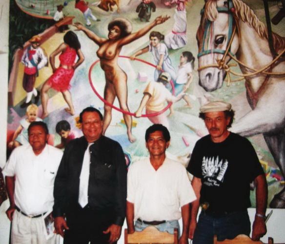 """El fundador de la """"Joyería Garzón"""" don CARLOS GARZON con los maestros CESAR CARACAS, LEONEL CERRATO y SERGIO MICHILINI"""