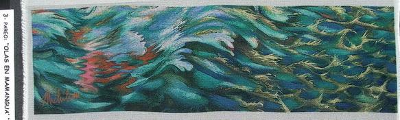 3a - 2004-9   PAREO-OLAS DE MAMANGUA'-3  elaborazione elettronica su seta cm.45x160