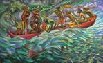 4 - 1998-8 LA CANOA DEI DODICI CON LA REGINA DI MAMANGUA' cm.100x160 (115)