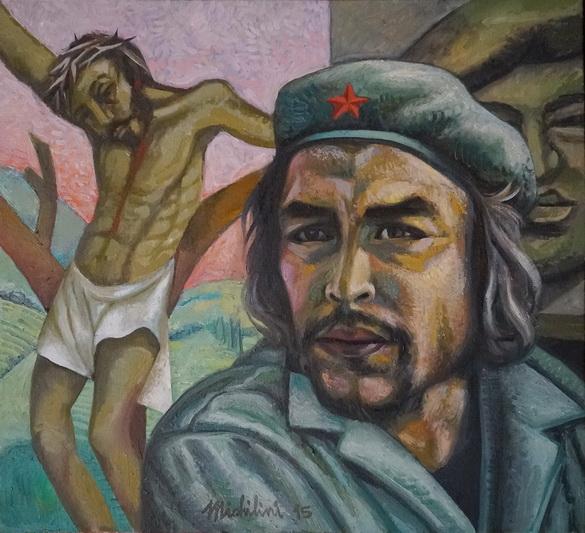 4 - Sergio Michilini, CRISTO CRUCIFICADO con el CHE GUEVARA y HUGO CHAVEZ, 2015, oleo/tela, cm55x60