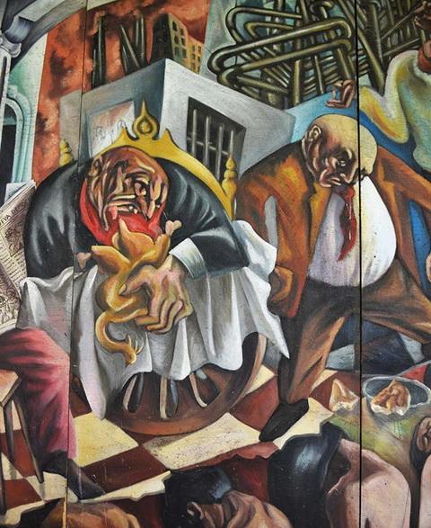 """Daniel Pulido """" EL GRITO DE JUAN LANAS"""", 1993, pintura mural en la Biblioteca Municipal de León, 8,40 x 2,40 mts, acrílico sobre paneles de plywood. DETALLE"""