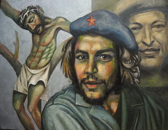6 - Sergio Michilini, CRISTO CRUCIFICADO con el CHE GUEVARA y HUGO CHAVEZ n.6, 2015, oleo/tela, cm62x80