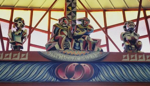Sergio Michilini, LA DIOSA DEL MAIZ, TAMAGASTAD Y CIPALTONAL Y LA DIOSA DE LA FERTILIDAD, 1984, terracota policriomada, Santa Maria de los Angeles, Barrio Riguero, Managua, Nicaragua