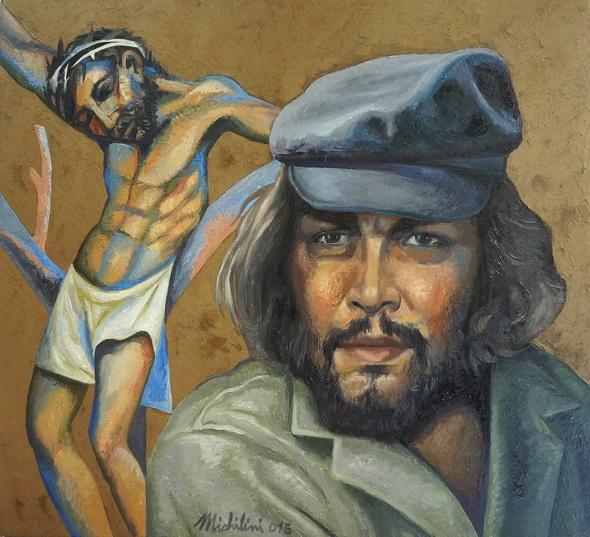 7 -  Sergio Michilini, CRISTO CRUCIFICADO y el CHE GUEVARA EN BOLIVIA n.7, 2015, oleo/tela, cm74x80