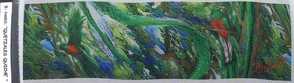 9a - 2004-15   PAREO-QUETZALES QUICHE'-9  elaborazione elettronica su seta cm.45x160