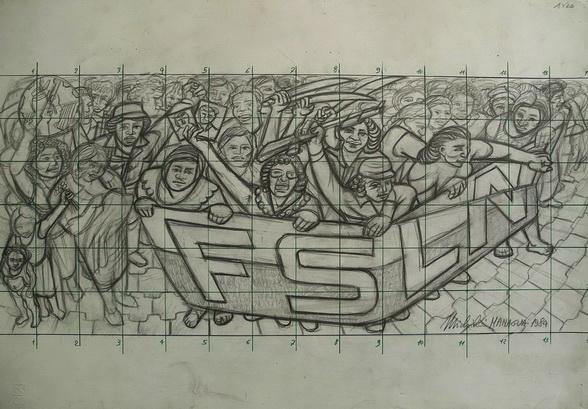 Sergio Michilini,mural movil 7 aniversario AMNLAE, Managua, Nicaragua, boceto