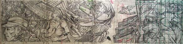 Sergio Michilini9, boceto escultopintura en la Casa Nacional AMNLAE, MANAGUA cm.175x45