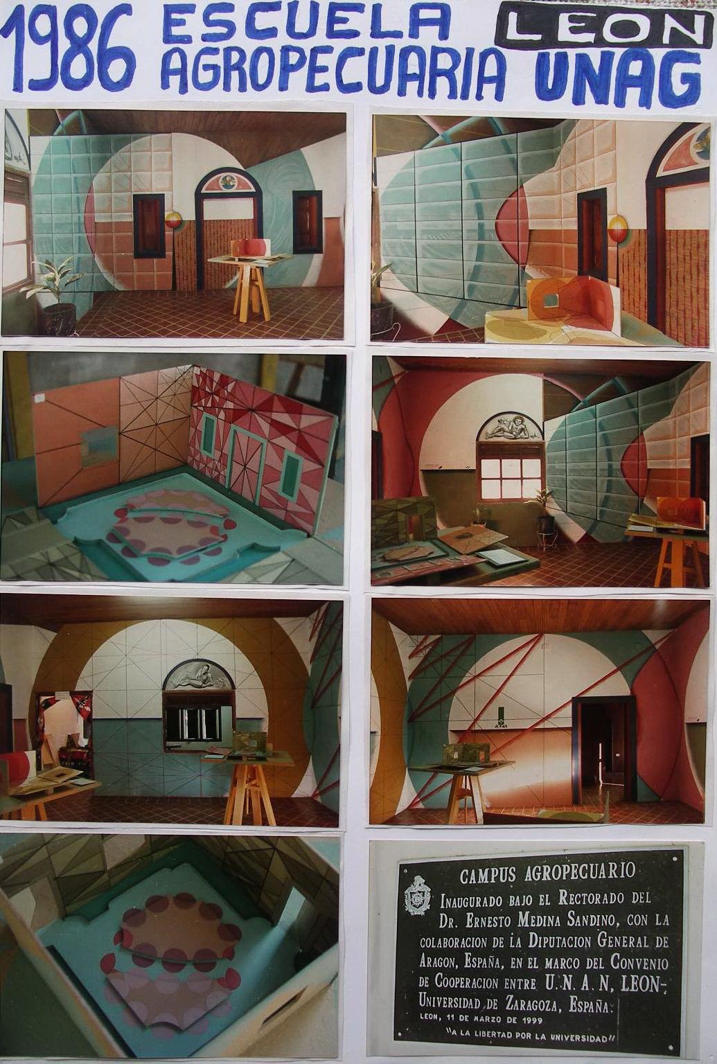 9 - 1986-2   SCUOLA AGROPECUARIA ACRA-UNAG, LEON, NICARAGUA, murale poliangolare didattico.