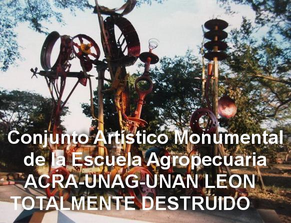 9 - 1986, Escuela Agropecuaria ACRA-UNAG, Leon, Ensamblaje policromado de maquinarias de la vieja finca