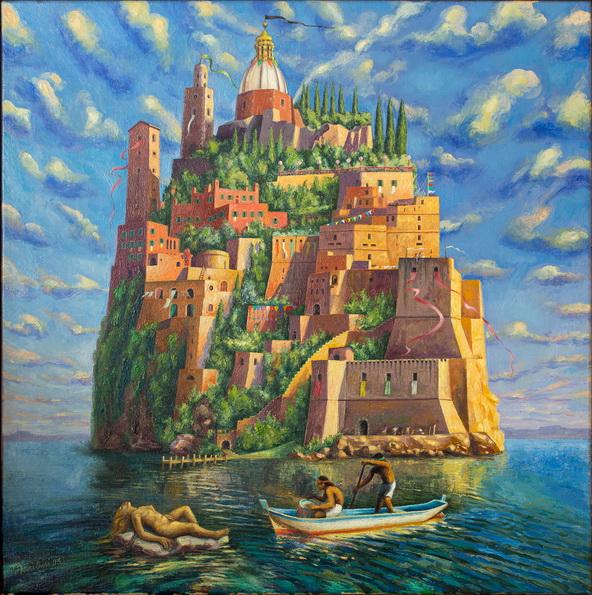 """Sergio Michilini, """"LA ISLA DE LOS VIVOS"""", 1995, oleo sobre tela, cm.60x60"""