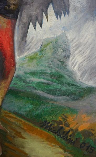 Sergio Michilini, TRIGALLO MÁS GALLO, 2015-16, oleo-tela, cm.80x60 DETALLE