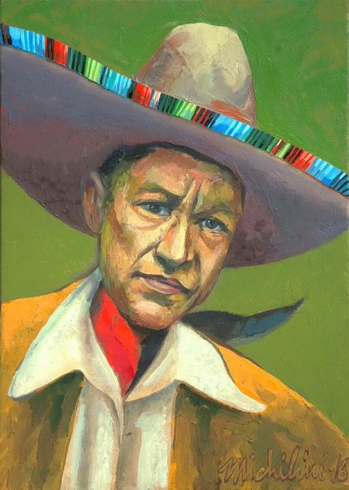 Sergio Michilini, SANDINO CON SOMBRERO MEXICANO, 2016, óleo sobre tela, cm42x30