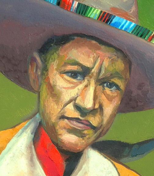 Sergio Michilini, SANDINO CON SOMBRERO MEXICANO, 2016, óleo sobre tela, cm42x30 DETALLE