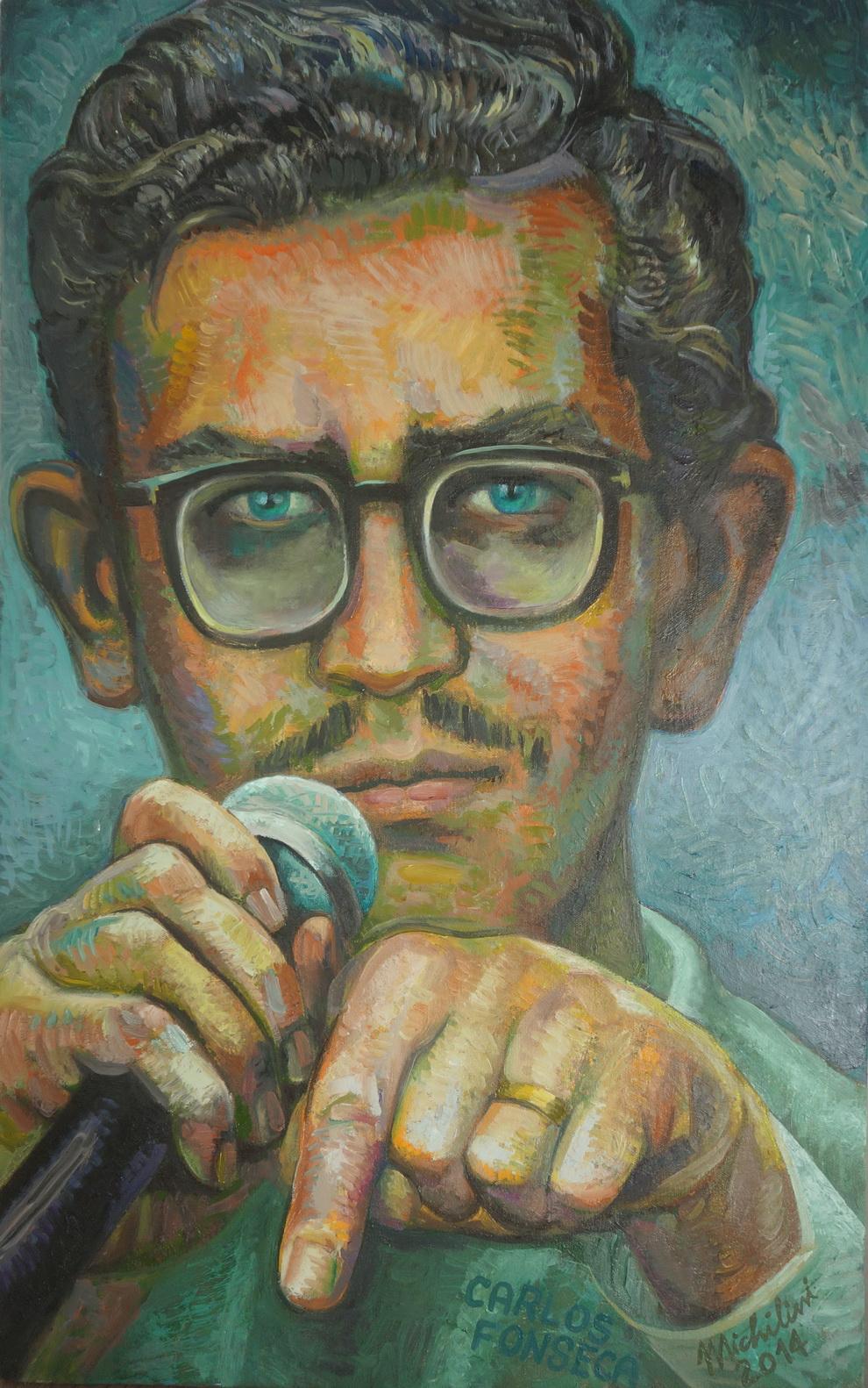"""Sergio Michilini, """"EL JOVEN CARLOS FONSECA"""" 2014, óleo sobre tela, cm.80×50"""