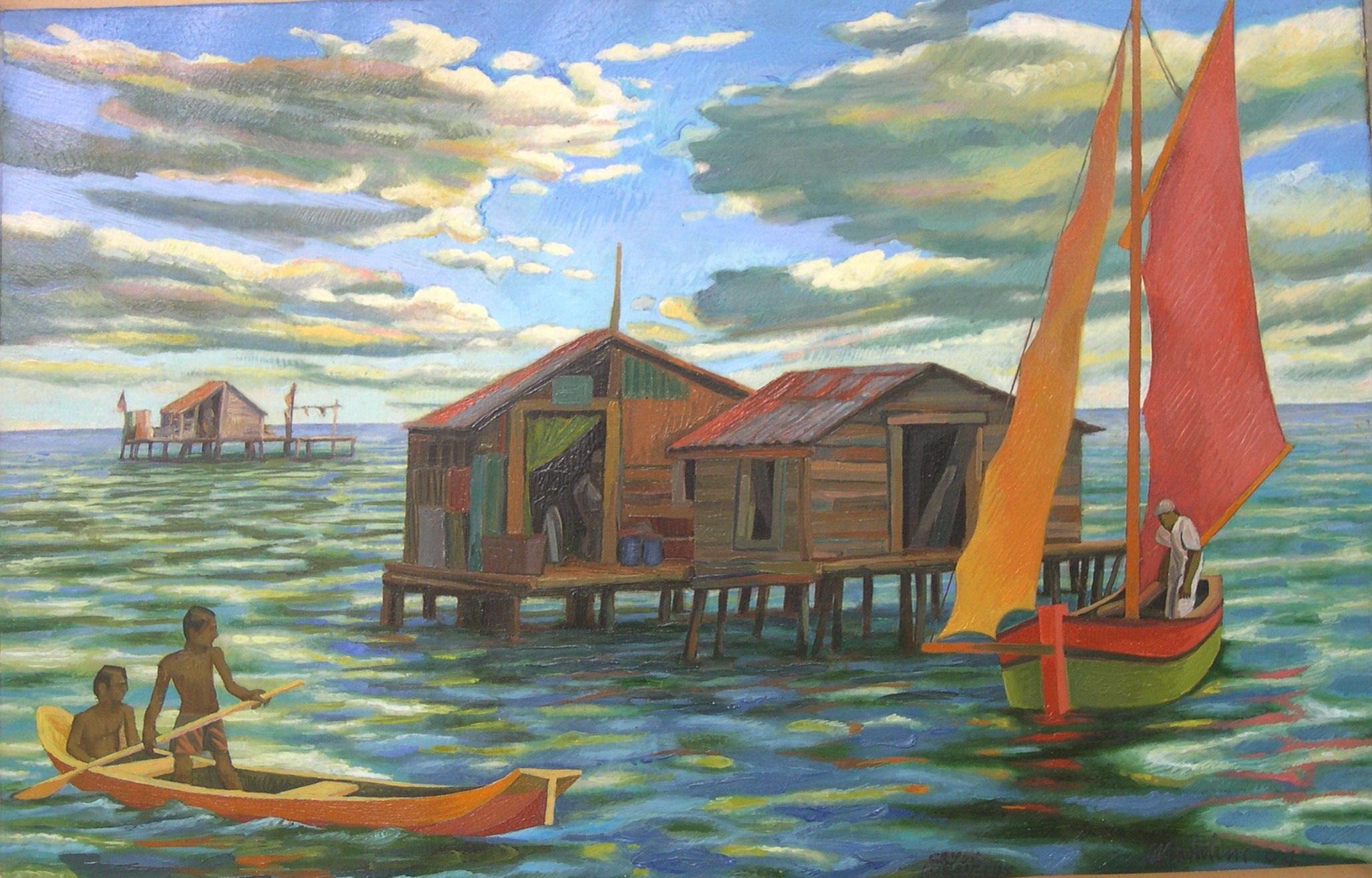 Sergio Michilini, CAYOS MISKITOS CON NUBES n.1, 2004, oleo sobre tela, cm.45x70