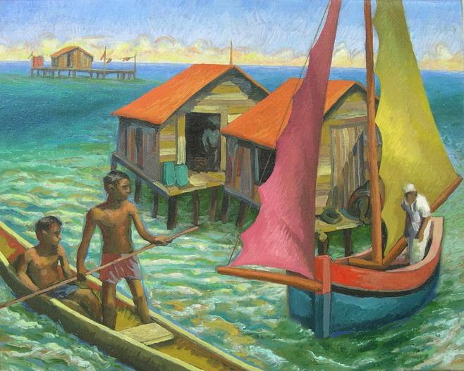 Sergio Michilini, CAYOS MISKITOS n.2, 2004, oleo sobre tela, cm.40x50