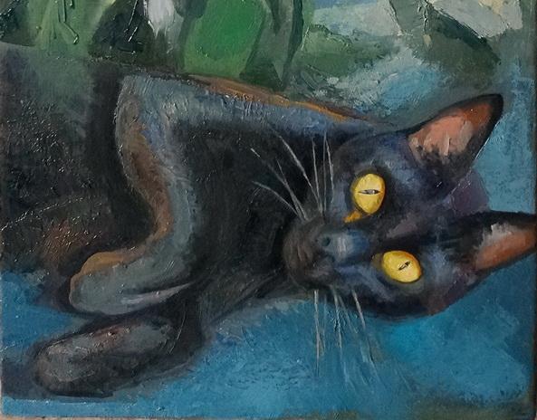 Sergio Michilini, HIBISCO BLANCO Y NUESTRO GATO NEGRY, 2016, óleo sobre tela, 60x30 DETALLE