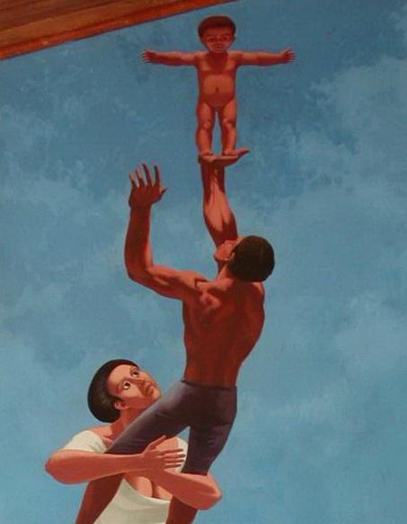 Aurelio C. (Italia), EL NACIMIENTO DEL HOMBRE NUEVO, 1987, pintura acrílica, m.2.55×1 DETALLE