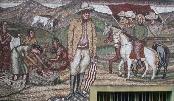 """Leonel Cerrato """"SANDINO Y EL PEQUEÑO EJERCITO LOCO"""", 2000, mosaico de piedras naturales nicaraguenses"""