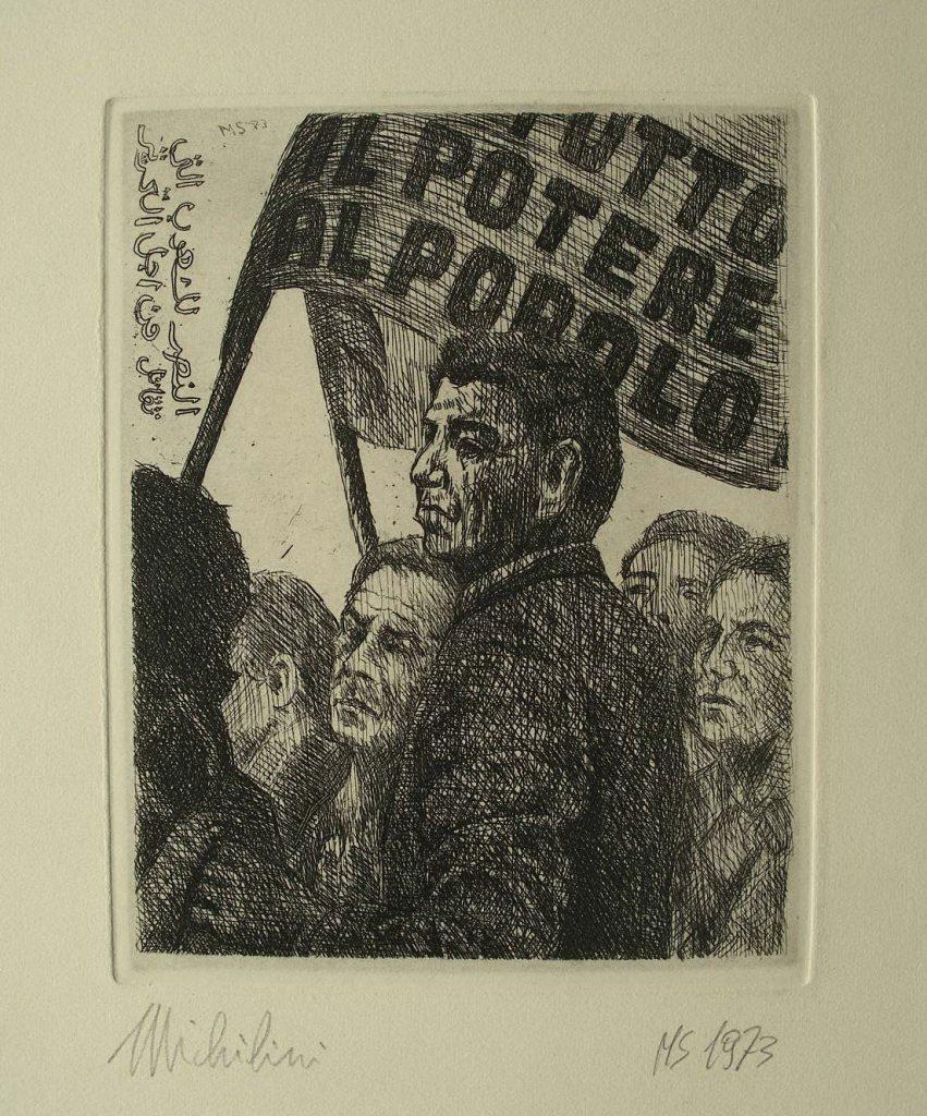 Sergio Michilini, TUTTO IL POTERE AL POPOLO, 1973, acquaforte (esame AABB), cm.16x12