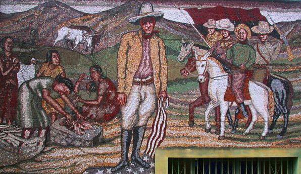Leonel Cerrato, SANDINO Y EL PEQUEÑO EJERCITO LOCO, mosaico de piedras naturales nicaraguenses