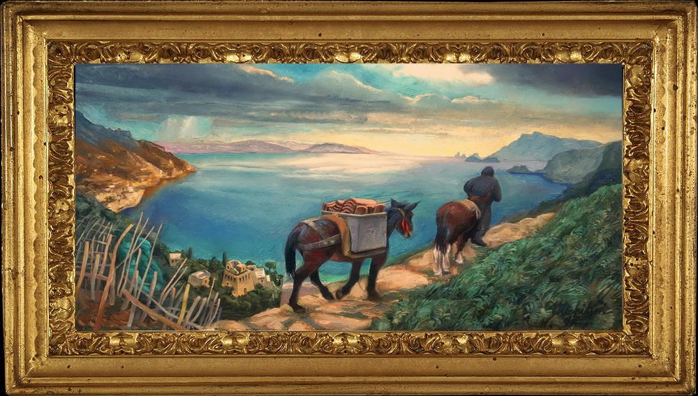 Sergio Michilini, ALLEGORIA INVERNALE DELLA COSTIERA AMALFITANA, 2017, olio su tela, cm.50x90