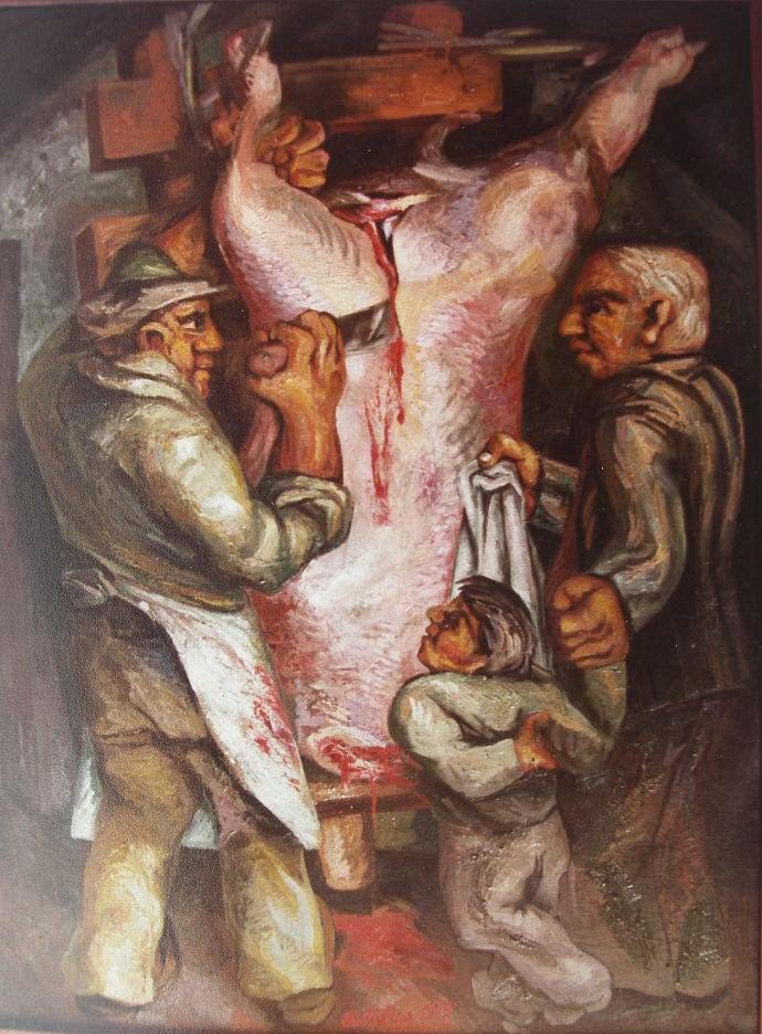 Sergio Michilini, IL MAIALE SQUARTATO, 1979, olio su tela, cm.70x100