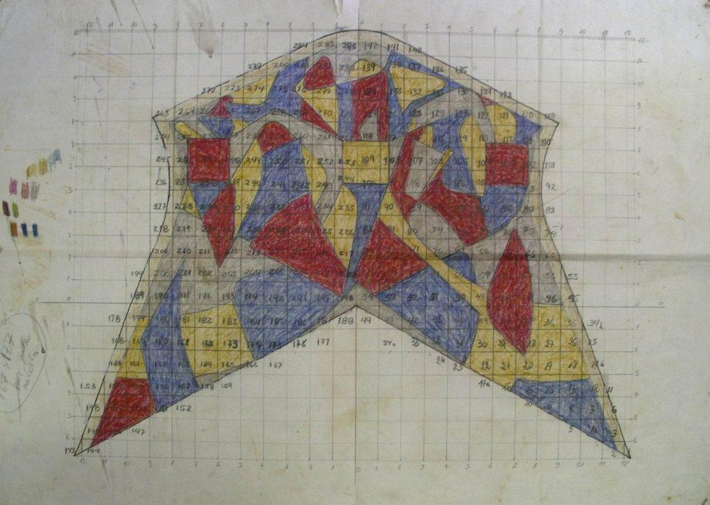 15- 1984-31 BOZZETTO PAVIMENTO ALTARE RIGUERO cm.40x50 (17a)