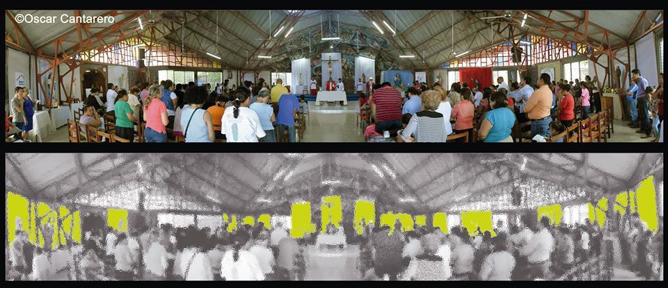 En amarillo se aprecian los trapos tapando todo el trabajo del altar y los misterios del Rosario en las paredes de todo el templo.