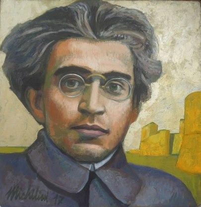 Sergio Michilini, RETRATO DE ANTONIO GRAMSCI, 2017, óleo sobre tela, cm.43x42