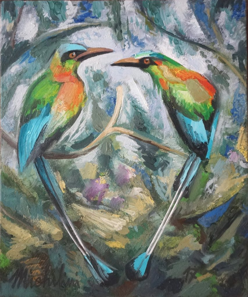 Sergio Michilini, DOS GUARDABARRANCOS, 2017, oleo sobre tela, cm.30x25